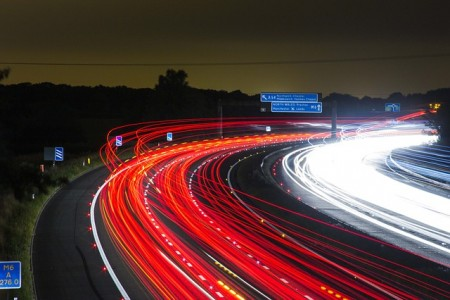 Traffic Road Highway Lights Night Long Exposure